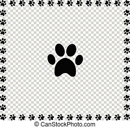 Black animal's paw print icon framed with paws