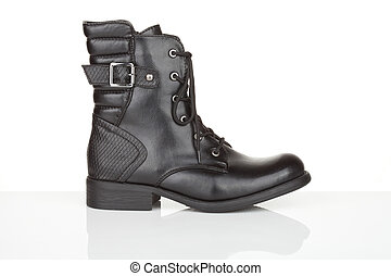 Black ankle boot with reflection