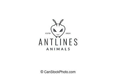 black ant head line logo vector illustration design