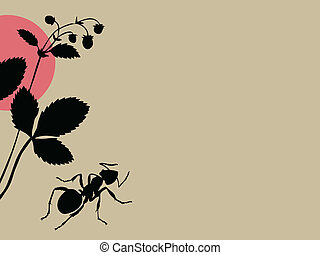 black ant on brown background, vector illustration