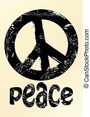 Black anti war symbole in grunge style with inscription peace on beige background. Hippies symbole 70s, 80s