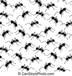 Black ants on white seamless background.