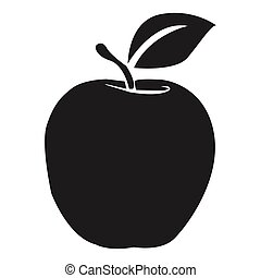 Black apple icon on a white background