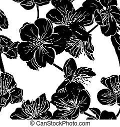 Black apple tree flowers silhouette - Seamless pattern with...