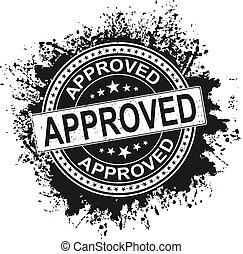 black Approved grunge rubber stamp on white, vector illustration