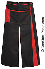 Black apron with the red pocket and outsets isolated on white