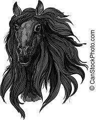 Black arabian racehorse sketch for equine design - Black...