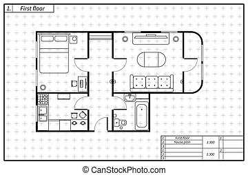 Black architecture plan of house with furniture in blueprint sketch style