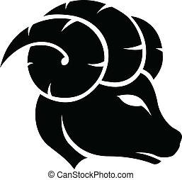 Black Aries Zodiac Star Sign - Illustration of Black Aries...