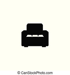 Black armchair icon isolated on white background - front view silhouette