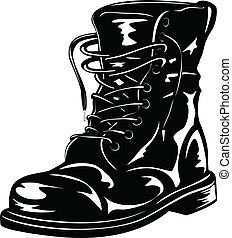 black army boot - Vector illustration black leather army ...