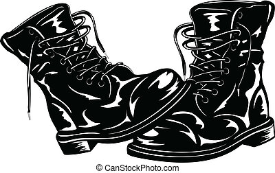black army boots - Vector illustration black leather army ...