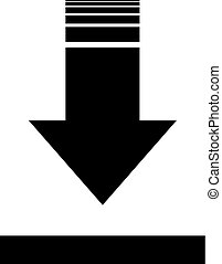 Black arrow down icon. download sign. isolated on white. Vector flat button. Black and white