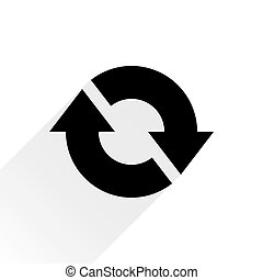 Black arrow icon refresh sign on white background