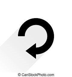 Black arrow icon reload sign on white background