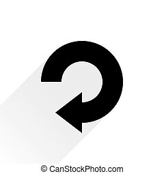 Black arrow icon repeat sign on white background