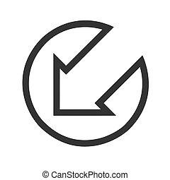 Black arrow points down to left flat icon on white Background