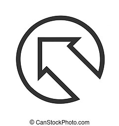 Black arrow points up to left flat icon on white Background