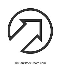 Black arrow points up to right flat icon on white Background