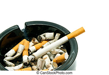 black ashtray with cigarette on white