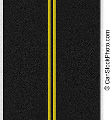 Black paved road with double yellow lines in the middle and white singles on the sides.