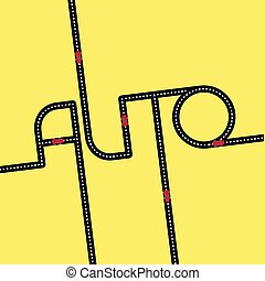 Black asphalt road in the form of word 'Auto'