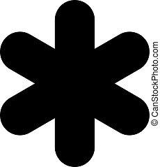 Black asterisk sign isolated on white background