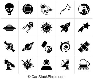 Black astronomy and space icons  - vector icon set