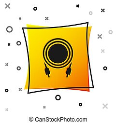 Black Audio jack icon isolated on white background. Audio cable for connection sound equipment. Plug wire. Musical instrument. Yellow square button. Vector