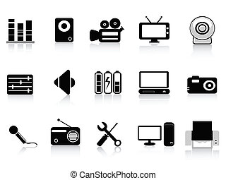 black audio, video and photo icons