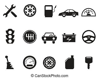black auto icons set