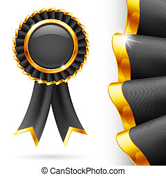 Black award ribbon - Shiny black award ribbon with golden...