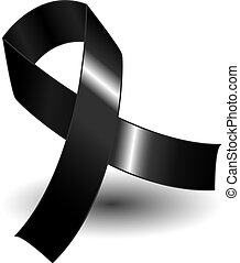 Black awareness ribbon over a white background with drop shadow, simple and effective.