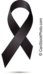 Black awareness ribbon isolate on white background, Vector illustration