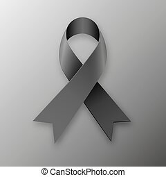 Black awareness ribbon on dark background