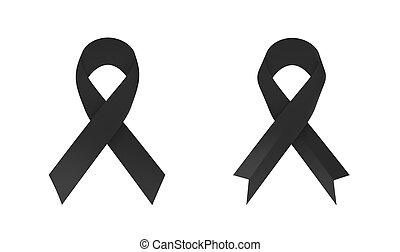 Black awareness ribbon on white background. 3D illustration