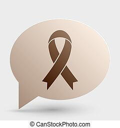 Black awareness ribbon sign. Brown gradient icon on bubble with shadow.