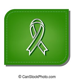 Black awareness ribbon sign. Silver gradient line icon with dark green shadow at ecological patched green leaf. Illustration.