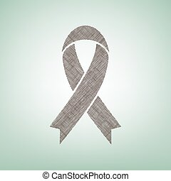 Black awareness ribbon sign. Vector. Brown flax icon on green background with light spot at the center.