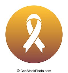 Black awareness ribbon sign. White icon in circle with golden gr