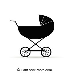 black baby carriage vector