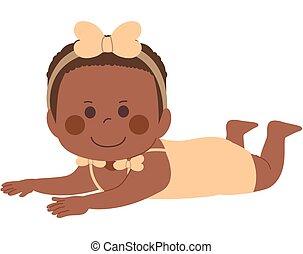 Black Baby Girl Tummy Time