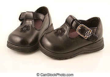 Black baby shoes - Black dressy new baby shoes - side by ...