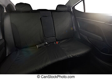 Black back cloth seat of modern sedan car with isolated...