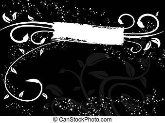 Black background - Abstract vector illustration of white...
