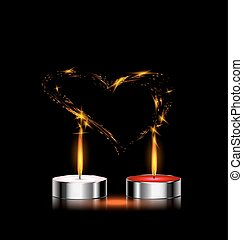 candles in love - black background and couple of candles in...
