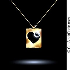 black background and jewelry chains and pendant card suit hearts