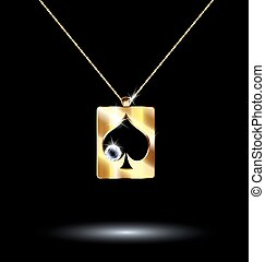 black background and jewelry chains and pendant card suit spades