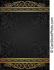 black background - black glossy background with golden...
