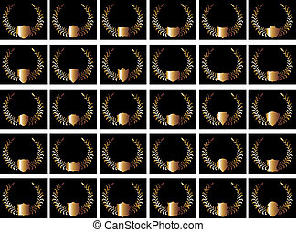 black background gold shield vector art